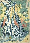 Kirifuri Waterfall at Kurokami Mountain in Shimotsuke (Shimotsuke Kurokamiyama Kirifuri no taki), from the series A Tour of Waterfalls in Various Provinces (Shokoku taki meguri)