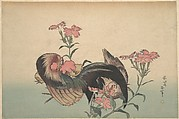 Cock, Hen, and Nadeshiko (Dianthus Superbus)