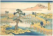 Ancient View of Yatsuhashi in Mikawa Province (Mikawa no Yatsuhashi no kozu), from the series Remarkable Views of Bridges in Various Provinces (Shokoku meikyō kiran)
