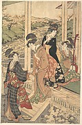 Group of Women on the Engawa of a Country House, in the time of the Cherry Blossoming