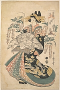 A Courtesan with Wisteria on the Background