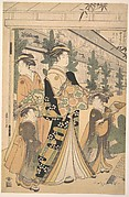 Two Oiran with Two Female Attendants in the Yoshiwara
