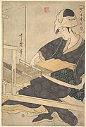 A Woman Weaving, Seated at a Hand Loom
