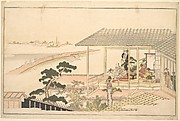 A Party of Merrymakers in a House in the Yoshiwara on a Moonlight Night