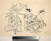 An Oiran Seated in a Parlor Applies the Fire Treatment to the Bared Back of Another Woman