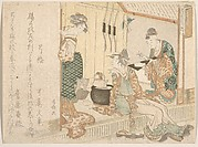 Two Young Ladies Having Tea Attended by Elderly Servant