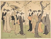 Group of Six Geisha Under the Cherry Trees on Gotenyama