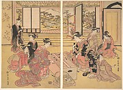 Two Young Women Playing a Game of Sugoroku