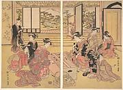 Two Young Women Playing a Game of Sugoroku
