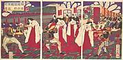 Illustration of the Commanders who Pacified Western Japan, Receiving the Emperor's Gift Cups (Saigoku chinbu shoshō tenpai o tamau no zu)