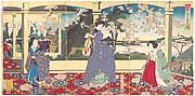 A  Dance Party: Enjoying Cherry Blossom Viewing at Ueno  (Tōbukai Ueno ōka yūran no zu)