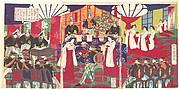 Illustration of the Commanders who Pacified Western Japan, Receiving the Emperor's Gift Cups (Saigoku chinsei shoshō tenpai o tamawaru no zu)