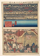Two Views: Waterfront at Kaigan-chō, 3-chome and 4-chome, and the Entrance to the Gankirō Tea House