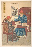 Two Chinese Scholars Practicing Calligraphy in Their Studio