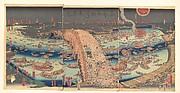 Panoramic View of Ryōgoku Bridge in the Summer