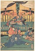Kabuki actors play as Ōashibara Ueno no kami Masahira, Tokiwa Mikuriya Bettō Tsuneaki, Tairano Shinnō Masakado, Musashi Gorō Takeshiba