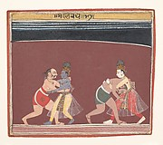 Krishna and Balarama Fight the Evil King Kamsas Wrestlers: Page from a Dispersed Bhagavata Purana