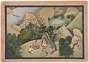 Rama, Sita, and Lakshmana at the Hermitage of Bharadvaja: Folio from a Ramayana Series