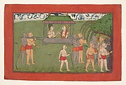 Lakshmana and Sugriva Being Carried by Palanquin to Receive Rama&amp;#39;s Blessings