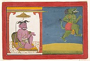 The Demon Hiranyaksha Departs the Demon Palace: Folio from a Bhagavata Purana Series