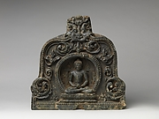 Meditating Buddha with Alms Bowl Enthroned in a Foliated Niche