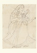 Krishna (dressed as a woman) Embracing Radha