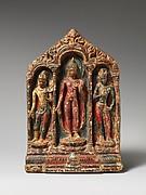 Buddha Flanked by the Bodhisattvas Avalokitesvara Padmapani and Vajrapani