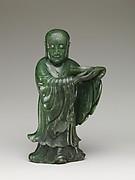 清中期 碧玉童子<br/>Temple attendant