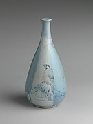 Wine Bottle with Bird, Rock, and Willow