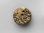 Netsuke of Flowers and Praying-Mantis; Scarecrows in a Field