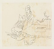 現代   謝稚柳   臨陳洪綬石几觀書圖   鏡片<br/>Gentleman Seated at a Stone Table, after Chen Hongshou