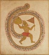Hanuman Bearing the Mountaintop with Medicinal Herbs