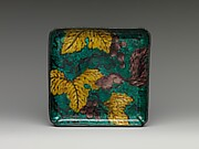 Square Plate with Design of Grapes and Squirrel