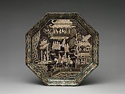 Octagonal Tray with Eighteen Scholars of the Tang