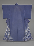Unlined Summer Kimono (Hito-e) with Plovers in Flight over Stylized Waves