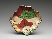 Dish with Design of Maple Leaves in a Stream