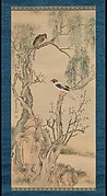 Birds in Willows and Blossoming Peach Tree