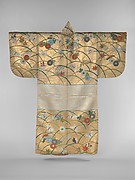 Noh Robe (Nuihaku) with Design of Butterflies, Chrysanthemums, Maple Leaves, and Miscanthus Grass