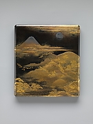 Box for Inkstone and Writing Implements (Suzuri-bako) with Geese against Mount Fuji in Moonlight and (inner lid) with Plovers by the Seashore