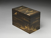 Tiered Box with Reeds and Crane