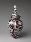Large Baluster Jar with Phoenix and Figure of Hawk on Lid