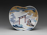 染錦女官図小皿<br/>Dish with Design of Court Lady by the Gate of a Shinto Shrine