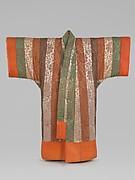 Kimono-shaped Comforter (Yogi) with Peonies and Stripes