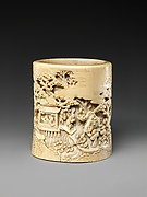 Brush holder with narrative scene