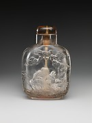 Snuff bottle with god of longevity and deer