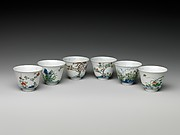 Set of wine cups with flowers of the twelve months