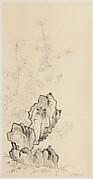 現代   謝稚柳   桃石圖  軸<br/>Flowering Peach and Rock