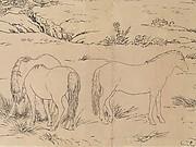 清 郎世寧百駿圖白描稿 卷<br/>One Hundred Horses