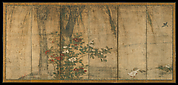 伝三谷等宿筆 松と椿に鷹・柳と椿に小禽図屏風<br/>Pine and Camellia with Hawks and Willow and Camellia with Small Birds