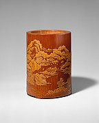 晚明  張希黃 留青竹刻 《醉翁亭記》 詩意圖筆筒